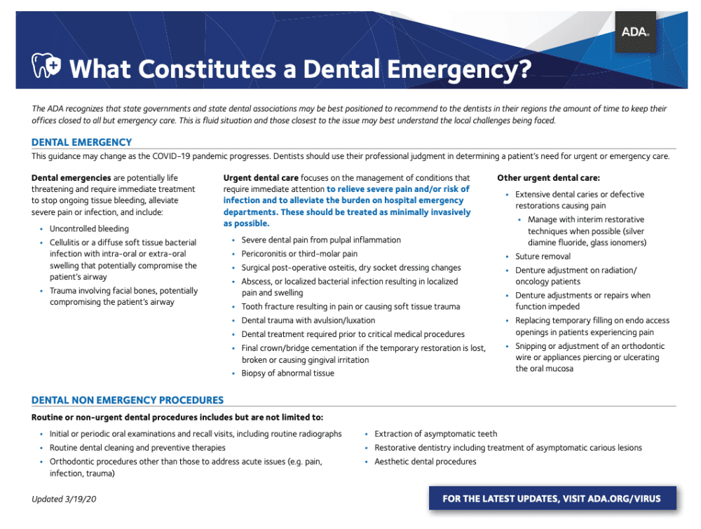 Dental Emergency Chart from ADA