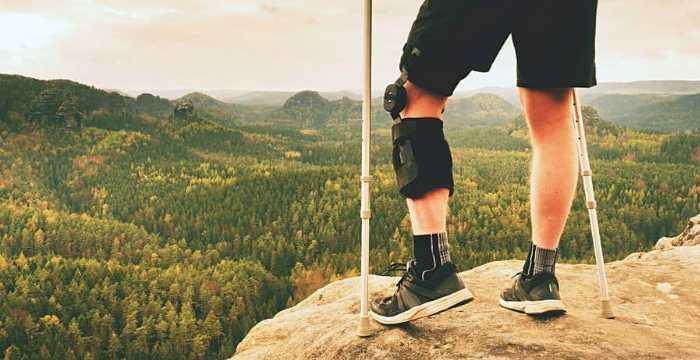 Hiking in knee brace