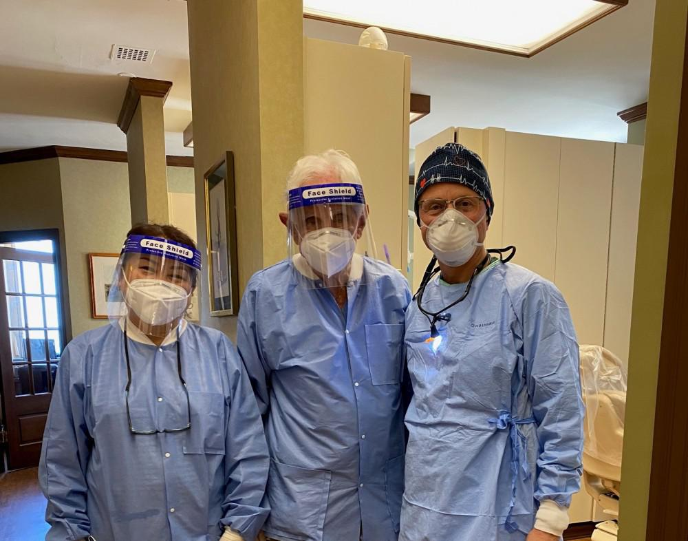 Dr. Loev's Team Masked and Ready to Care for Patients