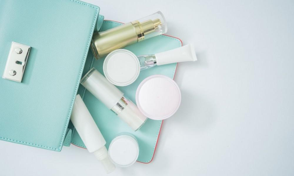 Beauty products in bag