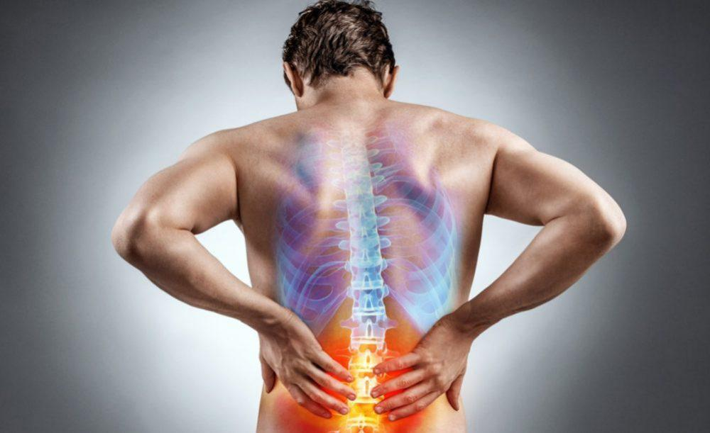 Orange zone indicates location of lower back pain on a human figure.
