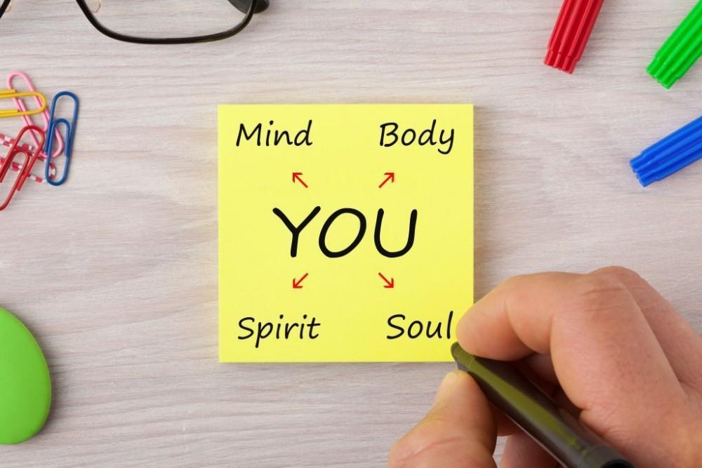 sticky note with mind, body, soul, spirit written on it