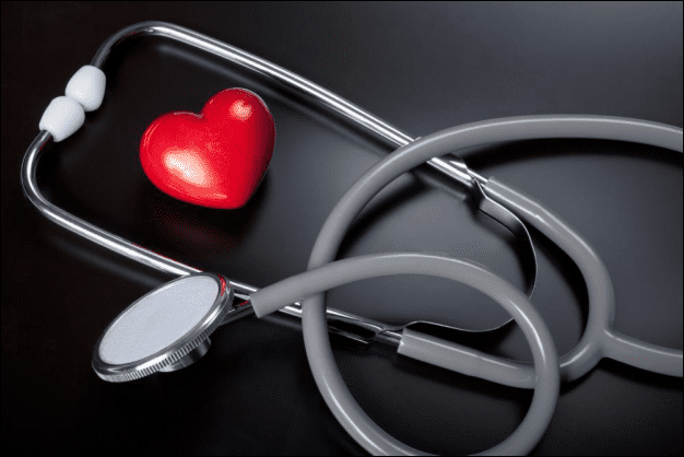 small heart next to a stethoscope