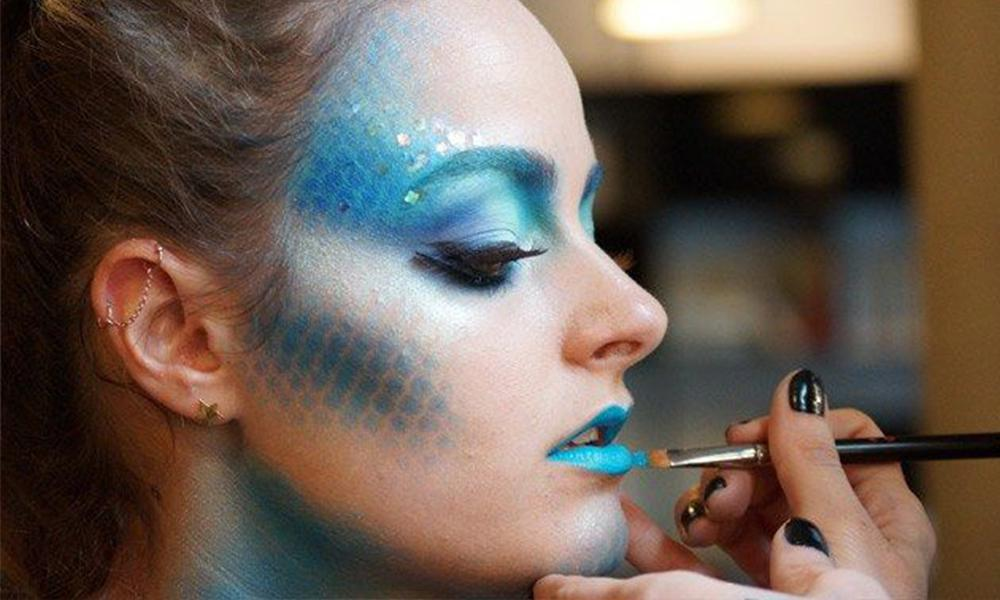 Woman with mermaid makeup