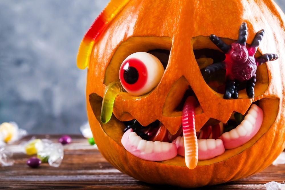 Jack-O-Lantern oozing candies