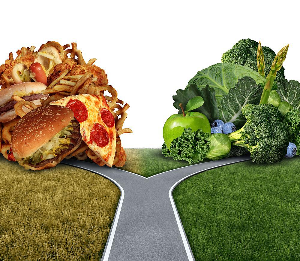 Picture of road leading to healthy food or junkfood