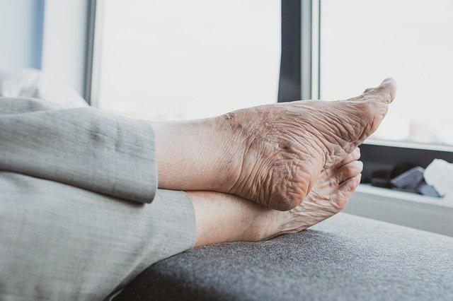 elderly feet elevated and at rest