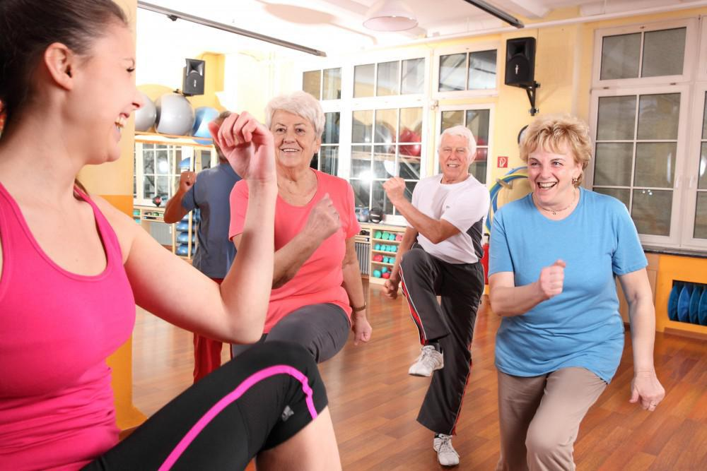exercise class with older women
