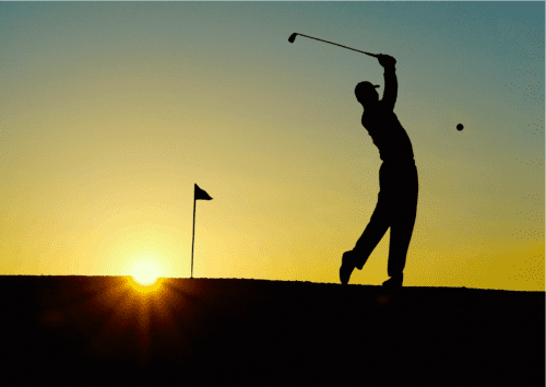 Golfer Practicing a Safe Swing