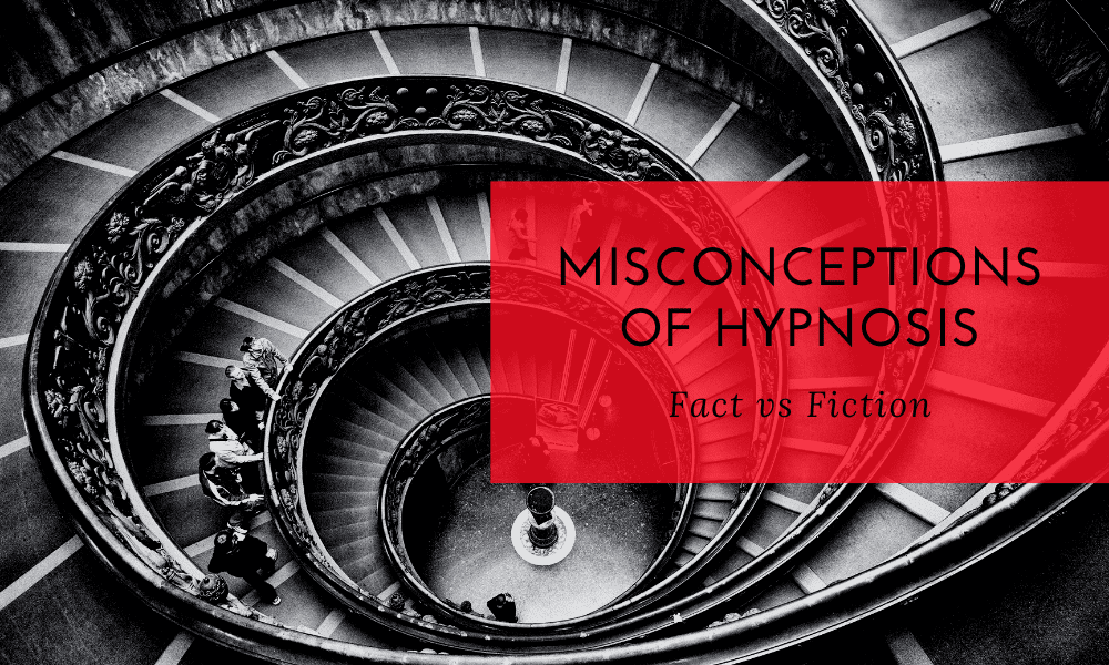 "Spiral staircase with people walking the stairs the words ""misconceptions of hypnosis"" are in a big red box laid over the pho"