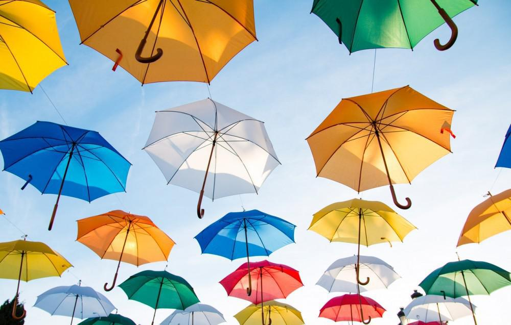 Umbrellas in sky