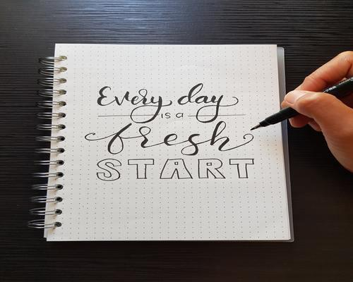 Journal with writing Every day is a fresh start