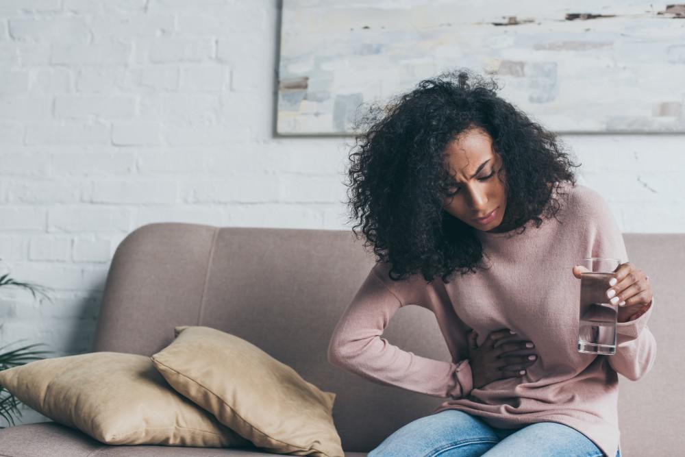 Woman endometriosis pain