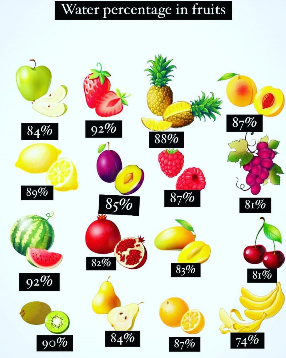 Percentage of water content in different fruit