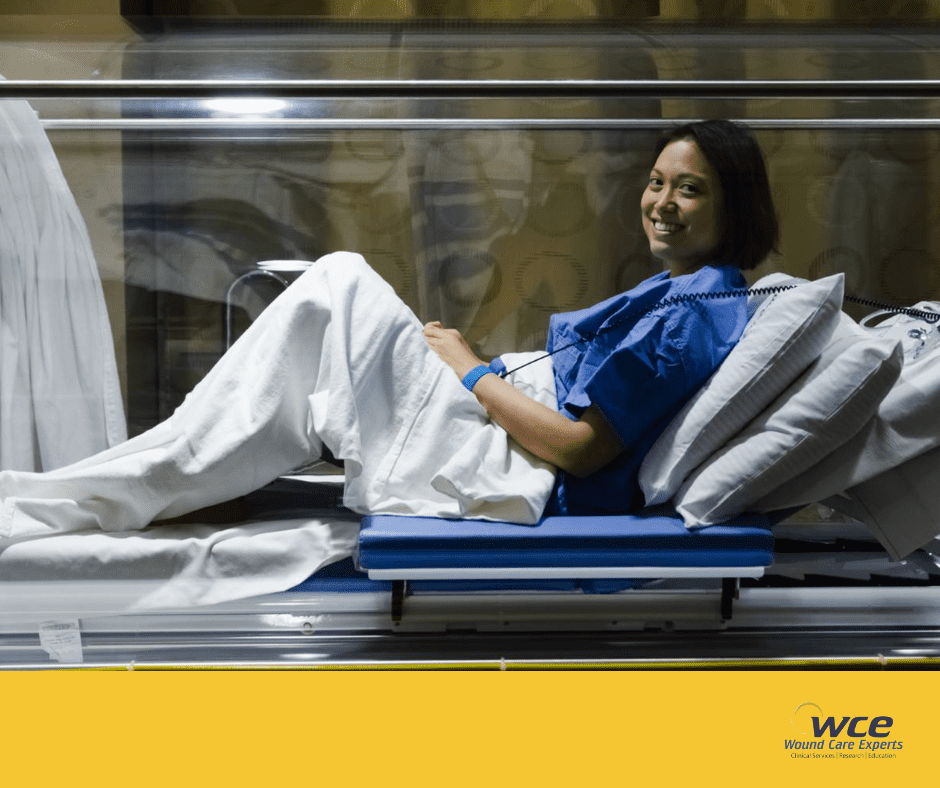 Patient receiving treatment in the Hyperbaric Oxygen Chamber