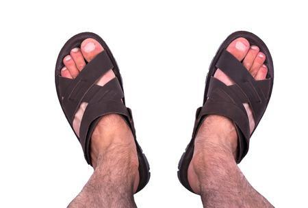male feet wearing sandals