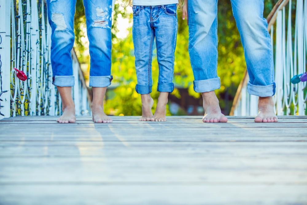barefoot family walking
