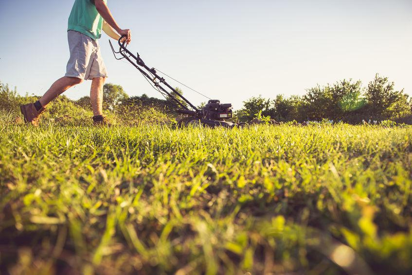 person mowing grass with hand pushed mower