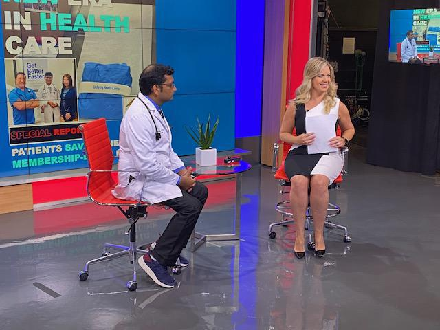 Dr. Yashash D. Pathak, known as 'Dr. Yash' being interviewed by CW39's Maggie Flecknoe about membership based medicine and ca